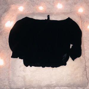 forever 21 black shear off the shoulder crop top